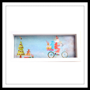 Multipurpose tray with white frame and santa print ideal for gifting and christmas decor