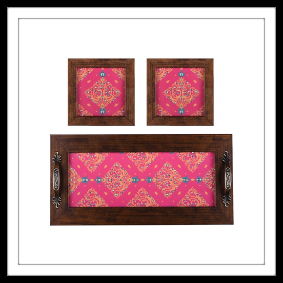 Punch Pink & Yellow Tray & 2 Coasters Set