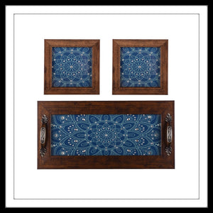 Olympic Blue Tray & 2 Coasters Set