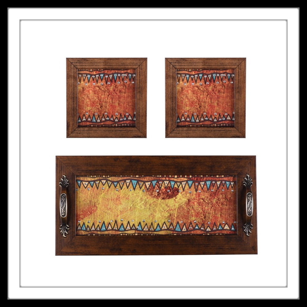 set of hand embellished tray and two coasters with rust ethnic print, suitable for gifting or home decor.