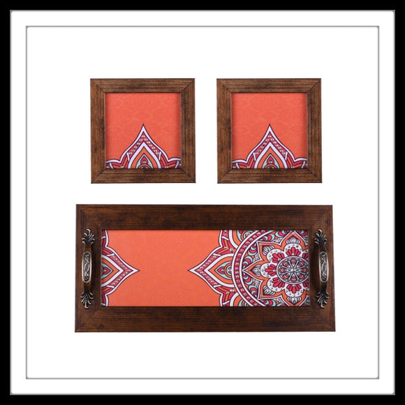 Carrot Orange Tray & 2 Coasters Set