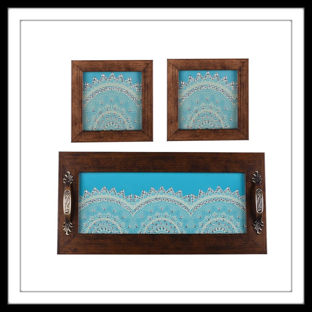 set of hand embellished tray and two coasters with blue and white semi mandala print.