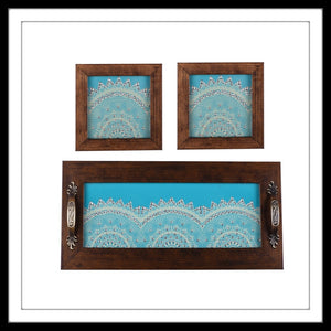 Sky Blue Jaded Tray & 2 Coasters Set