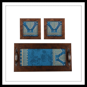 Handmade blue tray and coasters set with mandala print and crystal work, suitable for gifting and weddings
