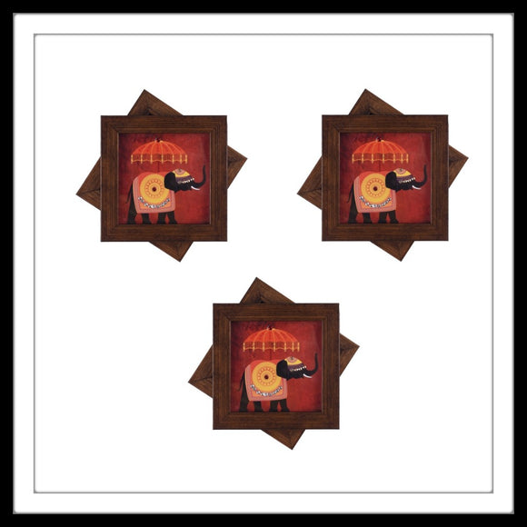 decorative coasters with elephant print with umbrella on red background