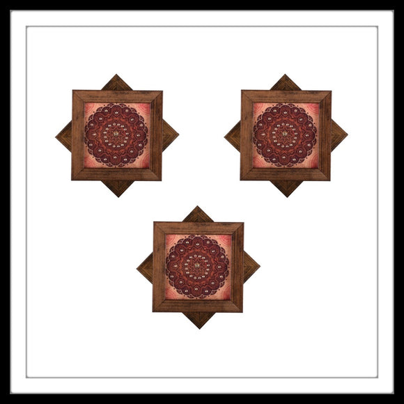 Handmade set of 6 coasters with rust mandala print embellished with crystals