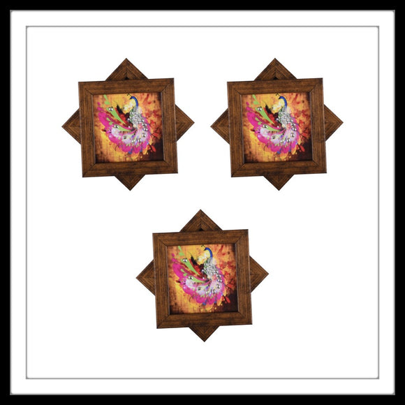 pink and yellow peacock print coasters for home decor and gifting
