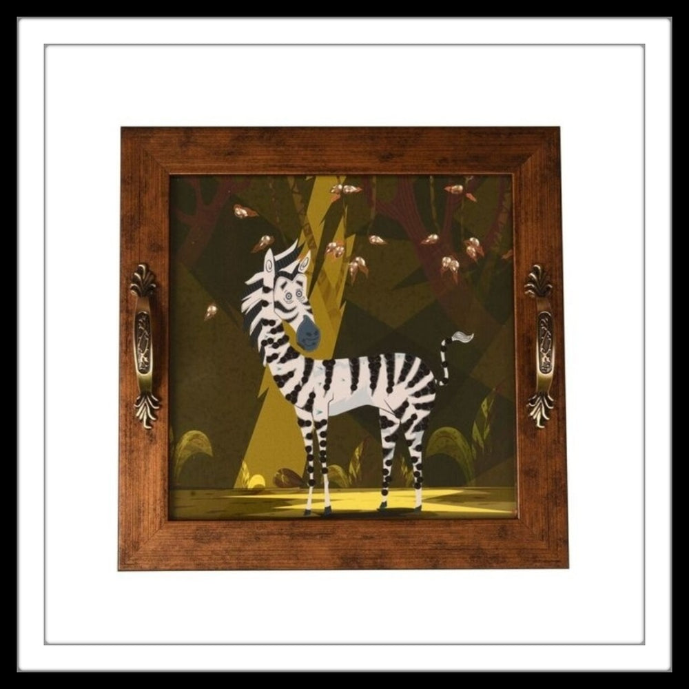 tray with black and white zebra in forest bedazzled with diamante