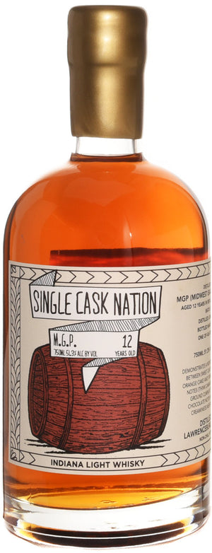 Single Cask Nation M.G.P. 12 Year Indiana Light Whisky