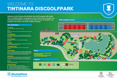 an image of Tintinara Disc Golf Park map
