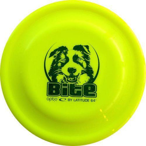 Image of An image showing Latitude Bite - Opto Plastic Dog Disc, Yellow in color. A disc golf for frisbee