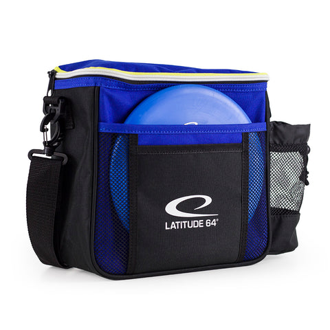 An image showing Latitude 64 Disc Golf Slim Bag. Black bag for disc golf frisbee