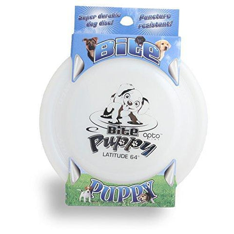 Image of An image showing Latitude Bite Puppy - Opto Plastic Dog Disc, white in color. Disc golf