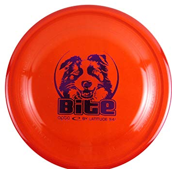 An image showing Latitude Bite - Opto Plastic Dog Disc, Red in color. A disc golf for frisbee