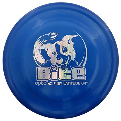 An image showing Latitude Bite - Opto Plastic Dog Disc, Blue in color. A disc golf for frisbee