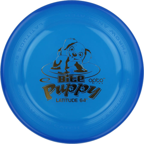 Image of An image showing Latitude Bite Puppy - Opto Plastic Dog Disc, blue in color. Disc golf