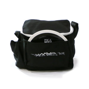 An image showing a black bag. MVP Cell Disc Golf Starter Bag