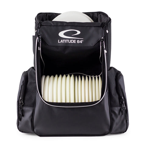 An image showing Front Latitude 64 Disc Golf Core Bag, Black in color. A disc golf bag for frisbee