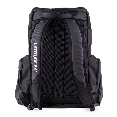 Image of An image showing Back Latitude 64 Disc Golf Core Bag, Black in color. A disc golf bag for frisbee
