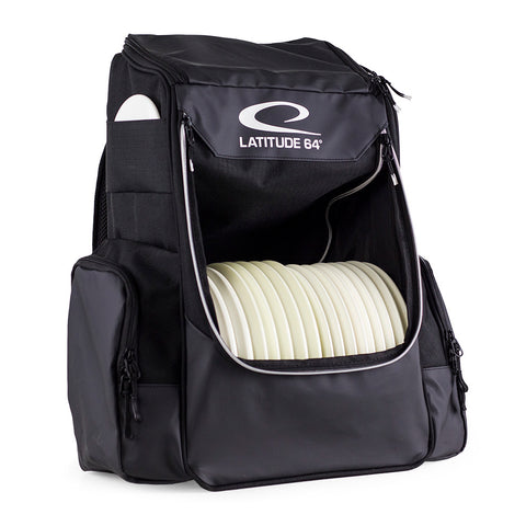 An image showing Latitude 64 Disc Golf Core Bag, Black in color.  A disc golf bag for frisbee.