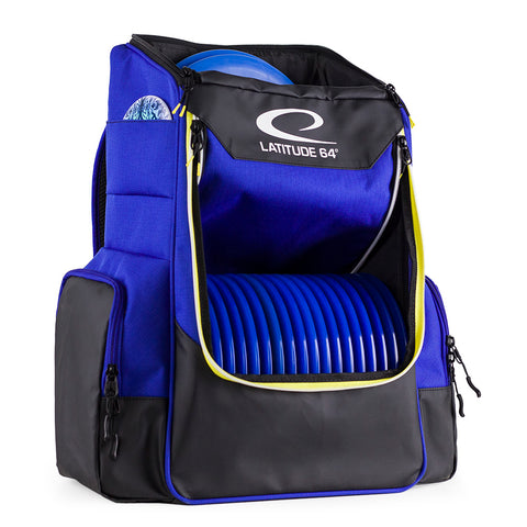 An image image showing Latitude 64 Disc Golf Core Bag, Blue in color. A disc golf bag for frisbee