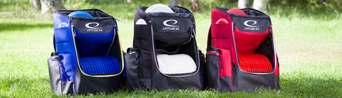 Image of An image showing different colors of Latitude 64 Disc Golf Core Bag, A disc golf bag for frisbee