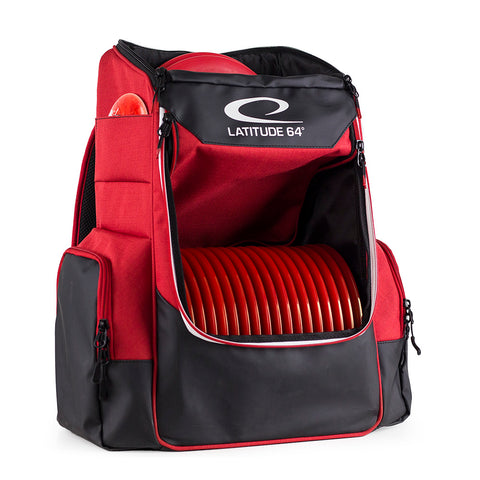 Image of An image showing Latitude 64 Disc golf core Bag, Red in color. A disc golf bag for frisbee