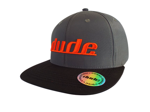 Image of An image showing a Grey Ethan Cap with orange dude logo print
