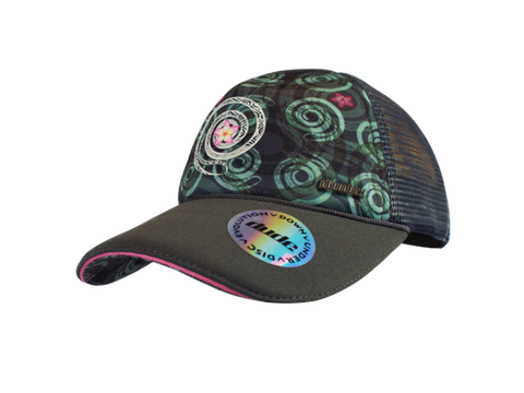 Image of An image showing a Black Jessica Trucker Cap with Sublimated Exclusive Spiral Print front and under brim