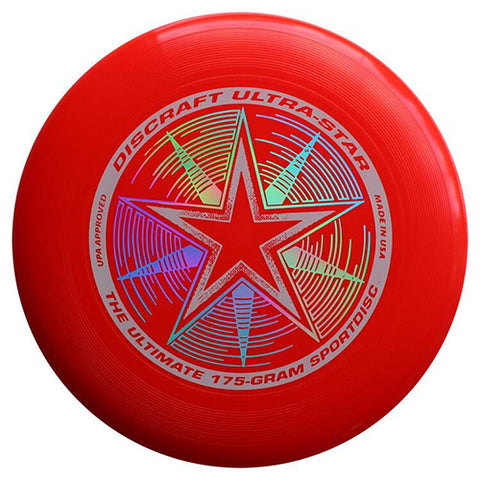 An image showing discraft ultra-star, 175 Gram Ultrastar Ultimate Frisbee, red in color