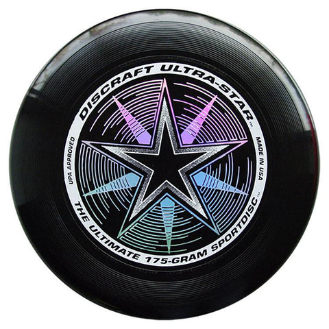 An image showing discraft ultra-star, 175 Gram Ultrastar Ultimate Frisbee, black in color
