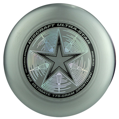 An image showing discraft ultra-star, 175 Gram Ultrastar Ultimate Frisbee, silver in color