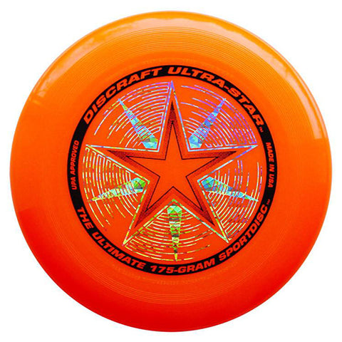 Image of An image showing discraft ultra-star, 175 Gram Ultrastar Ultimate Frisbee, orange in color