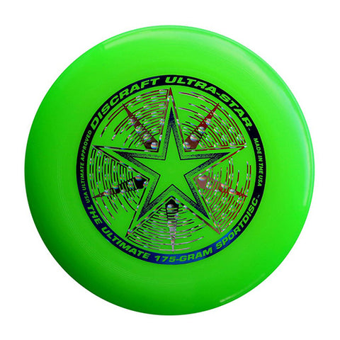 An image showing discraft ultra-star, 175 Gram Ultrastar Ultimate Frisbee, green in color