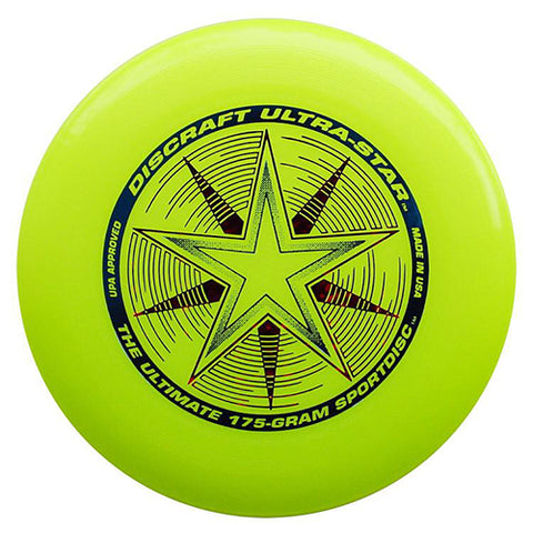 An image showing discraft ultra-star, 175 Gram Ultrastar Ultimate Frisbee, yellow green in color