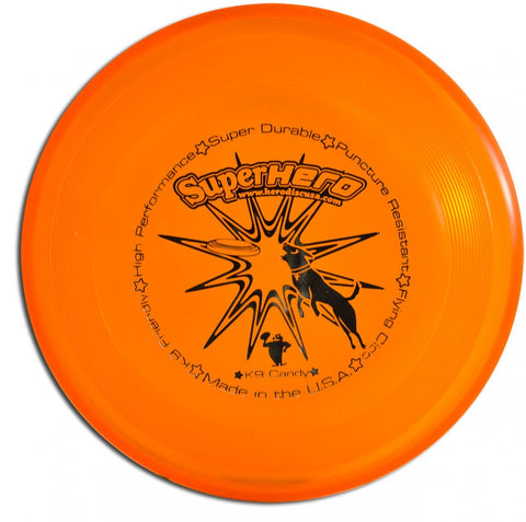 Image of An image showing Superhero Dog Disc, Orange in color. A disc golf for frisbee.
