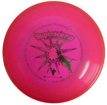 An image showing Superhero Dog Disc, Pink in color. A disc golf for frisbee