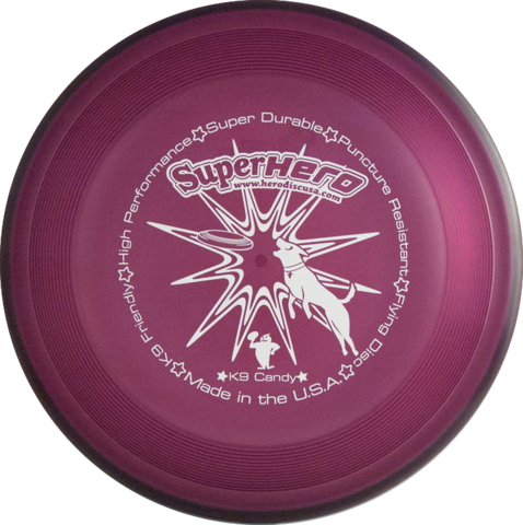 Image of An image showing Superhero Dog Disc, Violet in color. a disc golf for frisbee.
