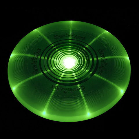 Image of An image showing Nite Ize Flashflight LED Green Light-Up 185g Beach and Catch Sports Frisbee