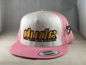 An image showing Dude Clothing Original Trucker Hat, Pink in color. A Hat for disc golf for frisbee.