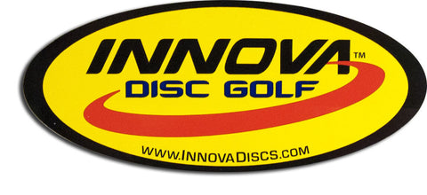 An image showing a logo of Innova disc golf. Oval logo sticker