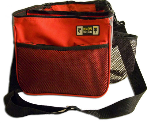 Image of An image showing Innova Starter Bag, Red in color. A disc golf bag for frisbee