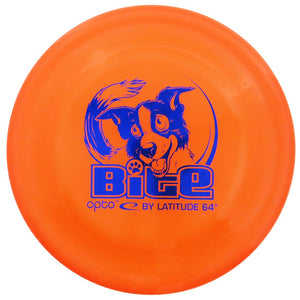 An image showing Latitude Bite - Opto Plastic Dog Disc, Orange in color. A disc golf for frisbee