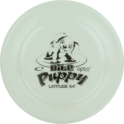 Image of An image showing Latitude Bite Puppy - Opto Plastic Dig Disc, white in color. Disc golf