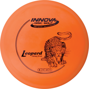 An image showing Innova Leopard - DX Plastic, orange in color. A disc golf for frisbee