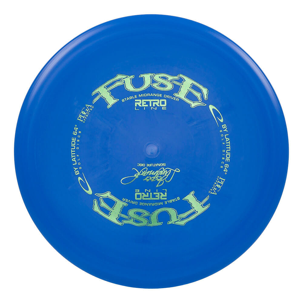 An image showing Latitude 64 Disc Golf, blue in color. A disc golf for frisbee