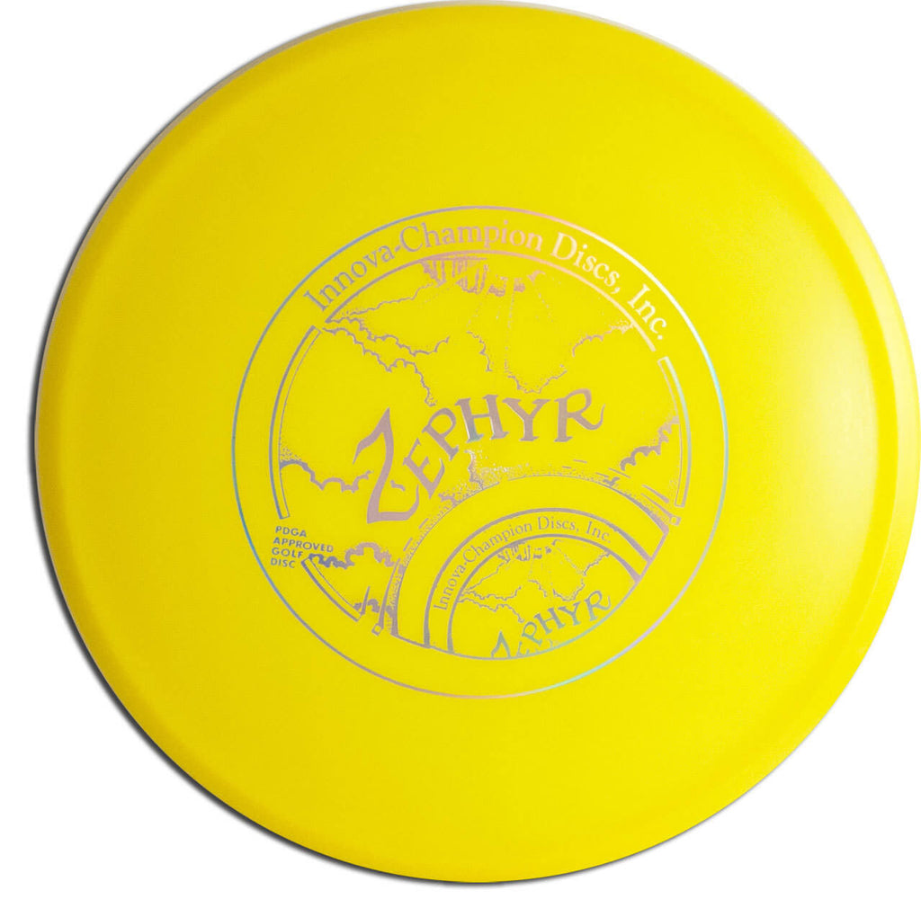 An image showing Zephyr - Star Plastic, Yellow in color. A disc golf for frisbee.