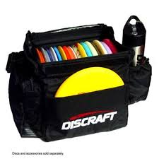 Image of An image showing Discraft Tournament Disc Golf Bag with disc golf inside