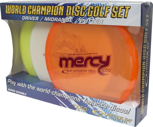 An image showing Latitude 64 World Champion  Disc Golf Set - Opto Line. A disc golf for frisbee