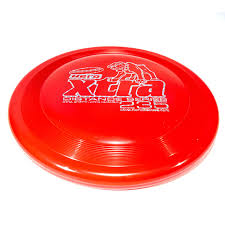 Image of An image showing Superhero Dog Disc, Red in color. A disc golf for frisbee.